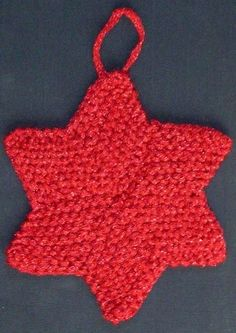 Six Pointed Star Christmas Ornament Knitting Pattern