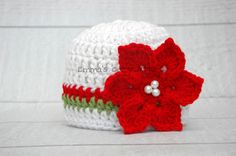 Newborn girl christmas hat, baby christmas hat, christmas photo prop, coming home outfit, baby girl clothes, baby gift, crochet baby hat on Etsy, $24.00
