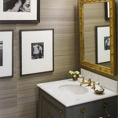 grasscloth wallpaper, brass hardware