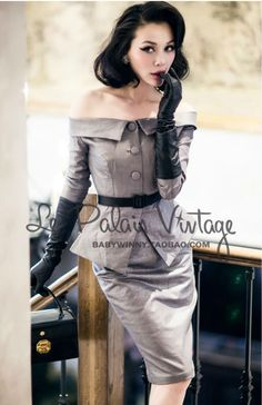 FREE SHIPPING Le Palais Vintage Limited elegant silver classic waist shoulder slim Dress Set