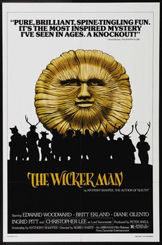 """The Wicker Man Horror/Artsy-fartsy. Film magazine Cinefantastique described it as """"The Citizen Kane of horror movies"""", and in 2004 the magazine Total Film named The Wicker Man the sixth greatest British film of all time. Horror Movie Posters, Original Movie Posters, Horror Films, Cinema Posters, King Kong, Wicker Man, Movie Scripts, Vintage Horror, Film Movie"""