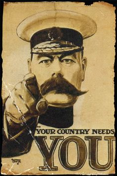 I think Britain was the first to come out with this style of patriotic army recruiter poster. After this the U.S. followed with Uncle Sam and I believe Russia had one for Stalin maybe. Link: http://www.allposters.com/-st/Propaganda-Vintage-Art-Posters_c18502_.htm