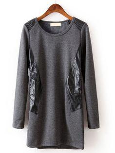 Grey Long Sleeve Contrast PU Leather T-Shirt - Sheinside.com
