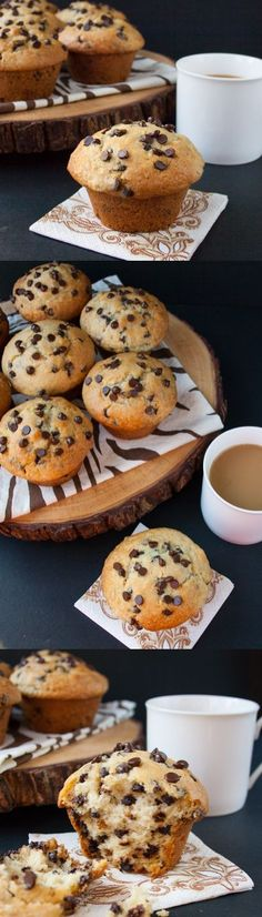 BAKERY STYLE CHOCOLATE CHIP MUFFINS. A crispy sky-high muffin top, full of chocolate chips, soft and buttery - a perfect way to start your morning.: