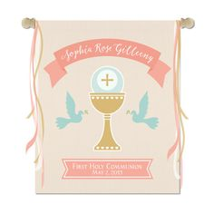 Holy First Communion Ceremony Banner Printed on by SixpencePress First Communion Banner, First Holy Communion, Communion Banners, Catholic Kids, Catholic Prayers, Church Banners, Name Banners, Boy Baptism Centerpieces, Pew Markers