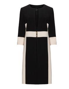 Elena Miro - Colour-Blocking-Mantel mit Schließe in Schwarz / Beige