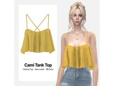 The Sims 4 Cami Tank Top by eansims Sims 4 Teen, Sims Four, Sims 4 Toddler, Sims 4 Mods Clothes, Sims 4 Clothing, Vêtement Harris Tweed, Vetements Clothing, Pelo Sims, Sims 4 Game Mods