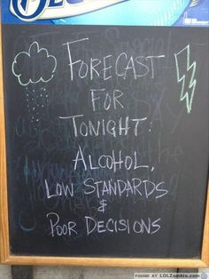 Forecast for Tonight: Alcohol, Low Standards & Poor Decisions