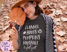 Flannel Boots Pumpkins Football It's Fall Y'all Tshirt, Football Coach Gift, Its Fall Yall Shirt, Cute Fall Shirt, Fall Sayings Shirt