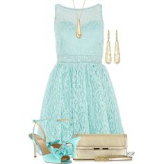 """Aqua Pearl And Stone Lace Waist Dress"" by colierollers on Polyvore"