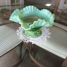 Fenton iridescent ruffled green bowl  | eBay