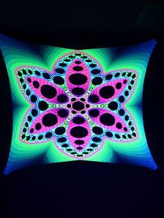 """2,5x2,5m Psywork Schwarzlicht Goa Segel Spandex """"Psychedelic Flower Pink""""  #blacklight #schwarzlicht #neon #glow #psy #party #deco #spandex #stretch #effects"""