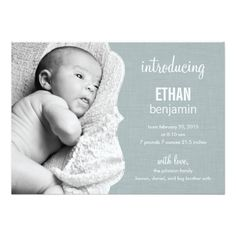Refined Elegance Baby Birth Announcements #baby #birthannouncements