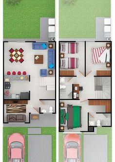 House Layout Plans, Duplex House Plans, Duplex House Design, House Front Design, Tiny House Design, Small House Plans, House Layouts, House Floor Plans, Narrow House Designs