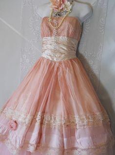 Pink fairytale dress tulle silk ruffles by vintageopulence on Etsy, $250.00 Pink ;)