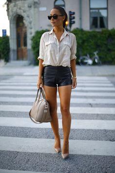 Leather shorts + White shirt