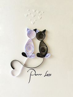 Quilled Pure Love handmade card Love Cats black white valetine heart greeting card original cute adorable. $7.80, via Etsy.