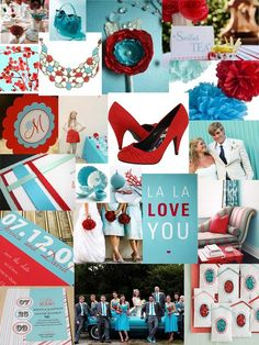 turquoise and red wedding-ideas....love these colors