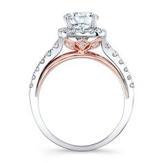 18k White and Rose Gold Square Halo Diamond Engagement Ring
