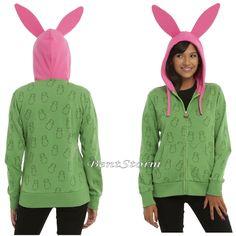 Bobs Burgers Louise Belcher Costume Hoodie W/ Pink Bunny Ears & Kuchi Kopi Print