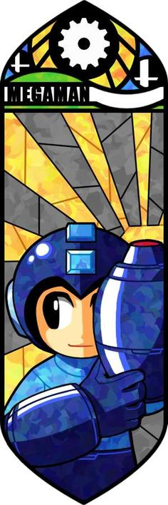 Megaman looks so cute in this picture.  I love how he's hiding so innocently behind his arm cannon.  I wish that his arm cannon would make more of a shadow on his face and body.  Though, the artist may not've chosen to do that because they still wanted to retain that innocent facade that Megaman keeps here so well.  The highlights on Megaman's arm cannon strike out great and give the metal a pretty sheen.