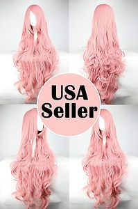 "40"" Fashion Cosplay Wig Amazing Long Pink Curly Hair 