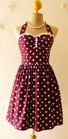 Wine Dress Purple Tea Dress Classic Polka Dot Dress Bridesmaid Summer Dress Eggplant Dress Scarlet Purple Party Dress-Range XS-XL