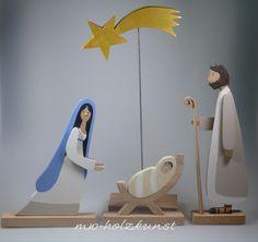 Krippen - Krippenfiguren aus Holz - Maria/Josef/Jesuskind - - ein Designerstück von mw-holzkunst bei DaWanda