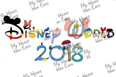 Disney World 2018 In Character Word Text INSTANT DOWNLOAD Digital Clip Art Image DIY For Shirt
