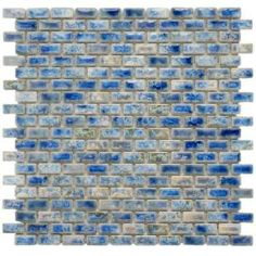 Merola Blue Subway Glazed Porcelain Mosaic Tile. These tiles are the perfect combination of natural stone and bright azul colors. #homedepot