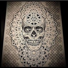 Geometric Mandala Tattoo, Geometric Tattoo Design, Geometry Tattoo, Mandala Tattoo Design, Skull Tattoo Design, Skull Tattoos, Body Art Tattoos, Sleeve Tattoos, Tattoo Designs