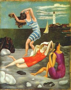 """Pablo Picasso - """"Les baigneuses (The bathers)"""" 1918 - Oil on canvas - 27 × 22 cm. At the Art Gallery of Ontario in """"Picasso"""" until August Pablo Picasso, Kunst Picasso, Art Picasso, Picasso Paintings, Sea Paintings, Paintings Famous, Indian Paintings, Abstract Paintings, Landscape Paintings"""