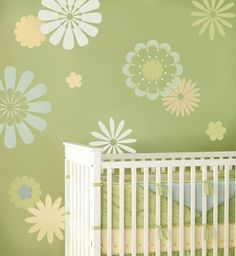 Wall stencil - colored flowers!