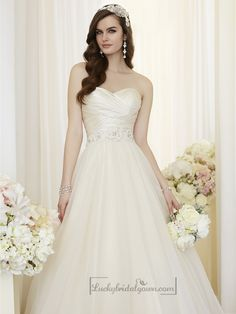 Criss Cross Asymmetrical Sweetheart Neckline A-line Wedding Dresses