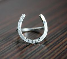Posey Lucky Horseshoe Ring - Custom Stamping. $36.00, via Etsy.