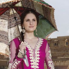 Magenta Net Anarkali Churidar Kameez with Dupatta Online Shopping: KWY331A