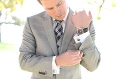 Handsome grey suit with plaid tie and cuff links.  Photo by Aaron Snow Photography.   #wedding #grooms
