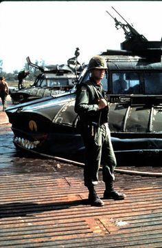 Patrol Air Cushion Vehicles (PACV) in the background, 1968. ~ Vietnam War