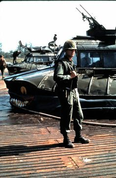 Patrol Air Cushion Vehicles (PACV) in the background, 1968. ~ Vietnam War