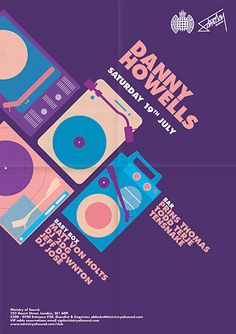 This promotional poster uses such a nice color pallet. The retro vibe works well promoting the DJ's with the simple images. Given the clean simple illustrations following the less is more mind state.