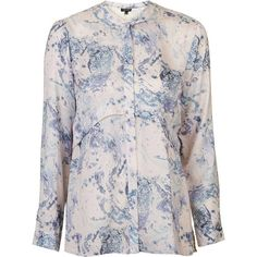 TopShop Marble Pleat Back Shirt ($71) ❤ liked on Polyvore featuring tops, multi, button up shirts, print button down shirt, pattern button up shirts, collared shirt and pattern shirt