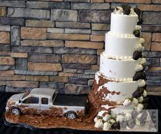 Custom Ford F150 cake minus the wedding cake and it would be perfect