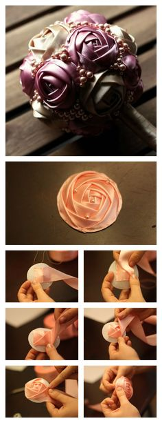 Satin Ribbon Roses, Ribbon Art, Ribbon Hair Bows, Ribbon Crafts, Ribbon Projects, Flower Crafts, Fabric Crafts, Ribbon Flower Tutorial, Ribbon Embroidery Tutorial