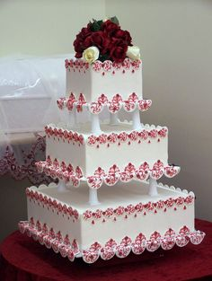 Cake boss wedding cakes are a type of wedding cake often used by many people. The characteristic of the wedding cakes is that they consist of many piles Cake Boss Wedding, Square Wedding Cakes, Amazing Wedding Cakes, Square Cakes, White Wedding Cakes, Unique Wedding Cakes, Wedding Cake Designs, Red Wedding, Unique Cakes