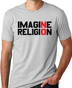 Imagine No Religion Atheist shirt cool free by ThinkOutLoudApparel