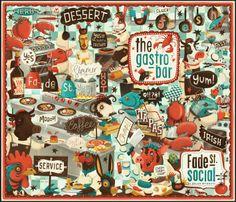 Illustrated tapas bar menu cover for Dylan McGrath's new Dublin restaurant, Fade Street Social. Designed by Steve Simpson