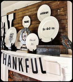 Paint/print white plates for holiday decorating.
