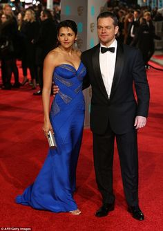 Feeling blue: Luciana Barroso ensured all eyes would be on her at the EE BAFTA Film Awards...
