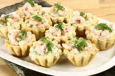 Tarteletter med rejer i asparges, billede 4 Creamy Mushroom Pasta, Creamy Mushrooms, Fast Food Logos, Logo Food, Mini Burgers, Vegetarian Entrees, Brunch Party, Fresh Mozzarella, Party Snacks