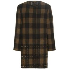 Etro Plaid Wool Coat ($1,488) ❤ liked on Polyvore featuring outerwear, coats, tartan coat, etro, brown wool coat, wool coat and plaid coat